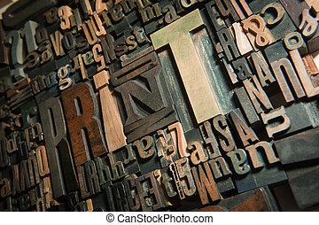 印刷品, 背景, 木頭