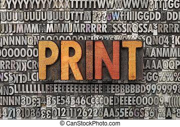 印刷品, 詞, 類型, letterpress