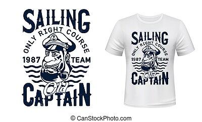 印刷品, t恤衫, 航行, mockup, 矢量, 上尉
