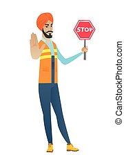 印度人, 建造者, 停止, 年輕, 藏品, 徵候。, 路