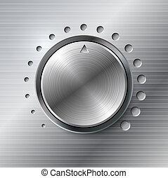 卷, 旋轉, 金屬, knob.