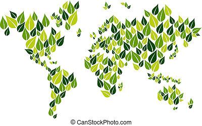 去, 地圖, 葉子, 綠色, 世界