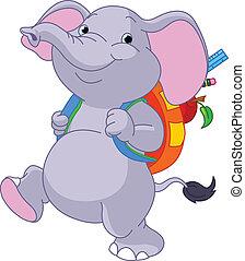 去, 學校, 漂亮, 大象