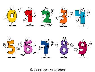 友好, 卡通, 數字, 集合