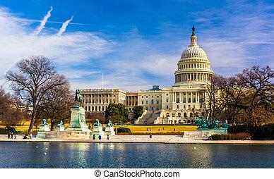 反射, 華盛頓, dc., 州議會大廈, 池