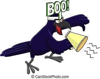 反對, 鳥, 字, 烏鴉, 擴音器, 尖聲叫, 給