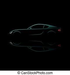 反映。, 汽車, 運動, 黑色半面畫像, 綠色