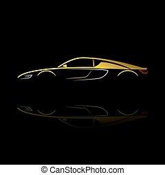 反映。, 汽車, 黑色半面畫像, 黃色