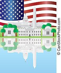 反映, 界標, 華盛頓特區, 美國旗