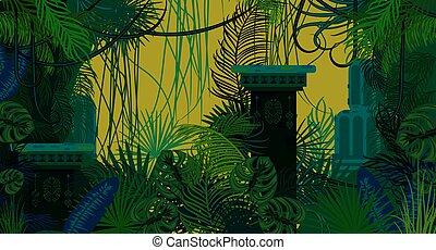 叢林, 背景。, 古老, 被放棄, 自然