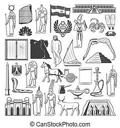 古老埃及, 勾畫, 旗, 旅行, 地圖, 界標