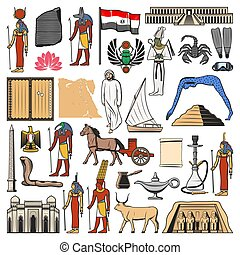 古老, 上帝, 地圖, 金字塔, egypt旗, 寺廟