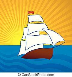 古老, 平原, 圖畫, 打掃, style., 小船