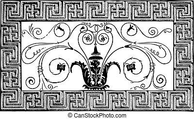 古老, 渦形, 羅馬, 巴黎, pittoresque, patterns., 細節, 几何, 雜志, le, 設計, 1840, foliated, 做, 邊框, 馬賽克, magasin