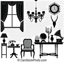 古董老, 房間, 大廳, 家具