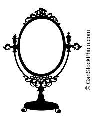 古董, 构成, 黑色半面畫像, 鏡子