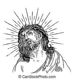 古董, 雕刻, (vector), 耶穌