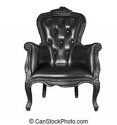 古董, 黑色, 椅子, 被隔离, 皮革, 白色