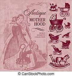 古董, motherhood, 集合, (vector)