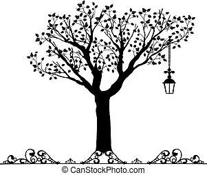 古董, vectors, 裝飾品, 樹
