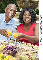吃, 健康, 夫婦 外面, 美國人, african, 年長者