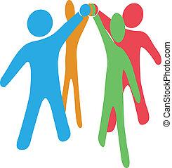 合作, 加入, 人們, 舉起手來, 一起, 隊