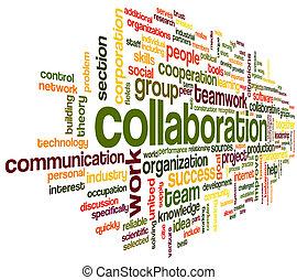 合作, 概念, 詞, 雲, 標簽