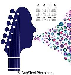 吉他, 日曆, headstock, 2018, 人
