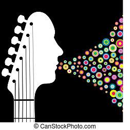 吉他, headstock, 人