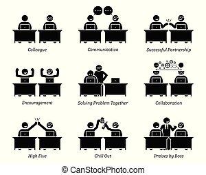 同事, 合伙人, 事務, 工作, 辦公室。, 一起, 工作場所, 有效地