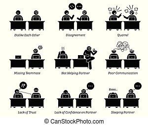 同事, 合伙人, 事務, 工作, 辦公室。, 一起, 工作場所, inefficiently