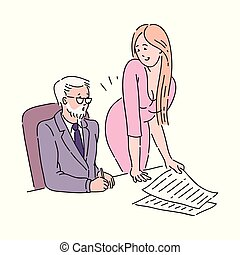 同事, 老, 她, 辦公室。, 年輕, 老板, harasses, 有吸引力, 性, redhead, 女孩, 或者, 人