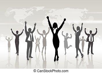 向上, 概念, 黑色半面畫像, 商業界人士, 從事工商業的女性, 胜利者, 手, 慶祝