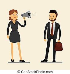呼喊, 婦女, 驚奇, 老板, 人, 擴音器, 雇員, 事務