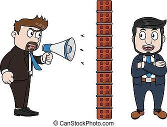 呼喊, 憤怒, 擴音器, 透過, 老板