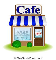 咖啡館, 正面, 圖象, 矢量