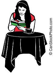 咖啡, 書, 桌子, 喝酒, 閱讀, 女孩