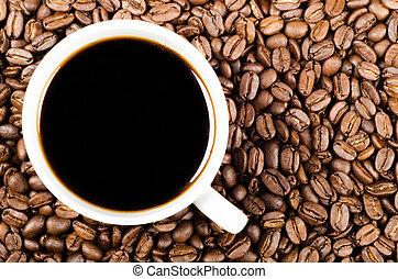 咖啡, 空間, 過濾器, 豆, 黑色, 模仿