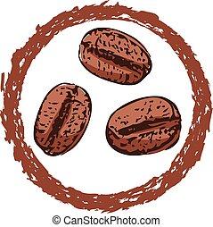 咖啡, 符號, 矢量, 豆, 或者, 圖象