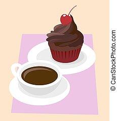 咖啡, 結冰, cup., case., 櫻桃, cupcake, 黑的巧克力, 矢量, 黑色, 紙, 白色, 咖啡館, 早餐, 紅色