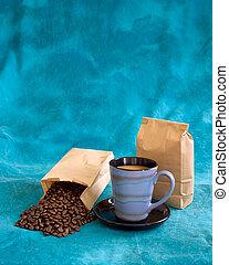 咖啡, 藍色, 被成雜色