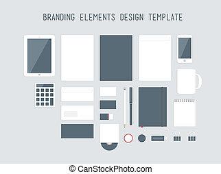 品牌, 設計, 矢量, 集合, 元素