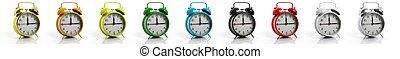 品種, 警報, 被隔离, 彙整, 背景。, clocks, retro, 顏色, 白色
