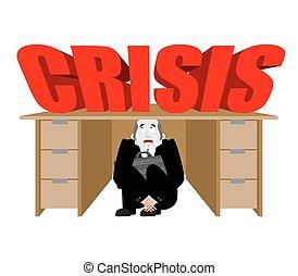 商人, 事務, 惊嚇, 工作, 插圖, crisis., 矢量, 在下面, board., 桌子, 受驚, 人