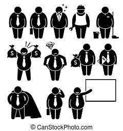 商人, 工人, 肥胖, 商人