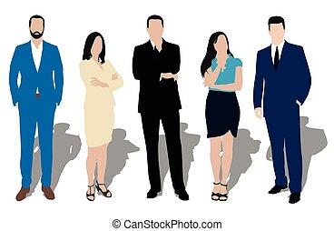 商人, 彙整, 衣服, 推銷員, work., workers., poses., 辦公室, 事務, 老師, 人們, 穿戴, 人, 經銷商, 正式, 經理, 秘書, 衣服, 門徒, 律師, 模型, 婦女, 不同, 說明