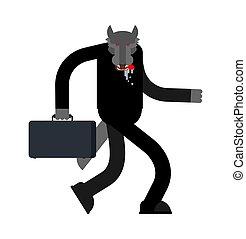商人, 插圖, 矢量, predator., isolated., 老板, 狼, 事務