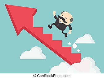 商人, 樓梯, 成功, 老板, 攀登, 箭