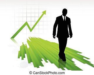 商人, 步行, 統計數字, 黑色半面畫像, 圖表