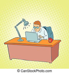 商人, 膝上型, 運作的 辦公室